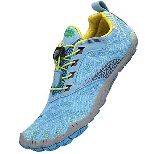 SAGUARO Damen Fitnessschuhe Wasserschuhe rutschfest Water Shoes Breathable Aquaschuhe Wasserdicht Herren Barfußschuhe mit Zehen Bequeme für Frauen Traillaufschuhe Anti-rutsch, Blau 42