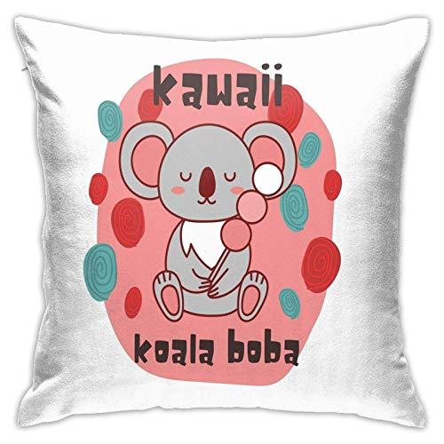 xiancheng Kawaii Koala Boba Koala Boba Likes to Sleep - Fundas de almohada con cremallera, 40,6 x 40,6 cm, arte al aire libre, fundas de almohada para el hogar, sofá cama
