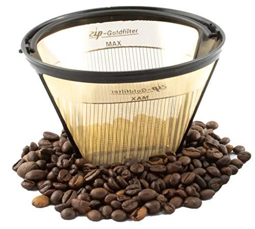 ZIP Premium Goldfilter | Dauerfilter | permanenter Kaffeefilter | wiederverwendbar | geschmacksneutral (1x4) | 23 Karat Goldbeschichtung