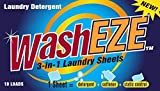 WashEZE All in One Laundry Sheets Scented 10 Ct Pkg - Detergent-Fabric Softener-Static Guard Travel and Dorm Friendly More Efficient and Convenient than pods paks liquids or powders