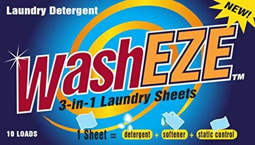 WashEZE (10 Ct) All in One Laundry Sheets Scented - Detergent-Fabric Softener-Static Guard Travel and Dorm Friendly More Efficient and Convenient than pods paks liquids or powders