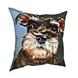 TNIJWMG Miniature Schnauzer Painting Throw Pillow Cover, 18 x 18 inch Modern Solid Decorative Square Bedroom Living Room Cushion Cases for Couch Bed Sofa