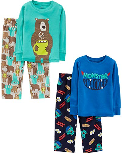 Simple Joys by Carter's Boys' Toddler 4-Piece Pajama Set (Cotton Top & Fleece Bottom), Monster/Bear, 3T