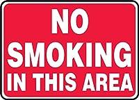 アキュフォームサインMSMG502VAアルミニウム安全サイン、凡例「この区域は禁煙です」、長さ10インチx幅14インチx幅0.040インチ、赤、白