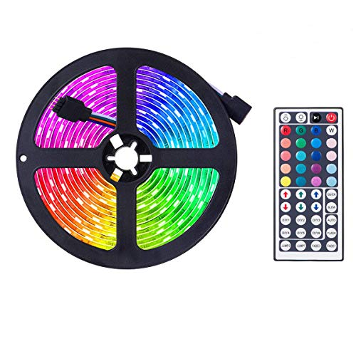 LED Strip,RGB SMD 5050 LED Strip Colour Changing LED Fairy,RGB Light Strip Set with Remote Control Ideal for Room, Home, (5m)
