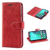 Mulbess Handyhülle für Samsung Galaxy A40 Hülle, Leder Flip Case Schutzhülle für Samsung Galaxy A40 Tasche, Wein Rot