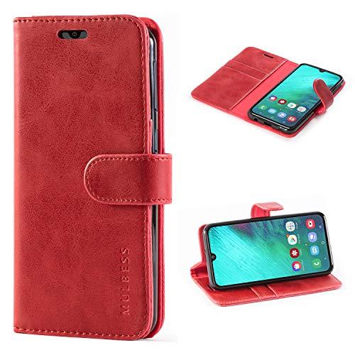 Mulbess Handyhülle für Samsung Galaxy A40 Hülle, Leder Flip Hülle Schutzhülle für Samsung Galaxy A40 Tasche, Wein Rot