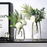 Lutingstore - Jarrón de flores geométricas de metal, jarrón de hierro, florero para decoración de jarrones transparentes para salones, bodas, fiestas de día festivo, 2 piezas (S + L)