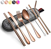Reusable Travel Utensils Silverware with Case,Travel Camping Cutlery Set,Chopsticks and Straw for Camping, Portable...