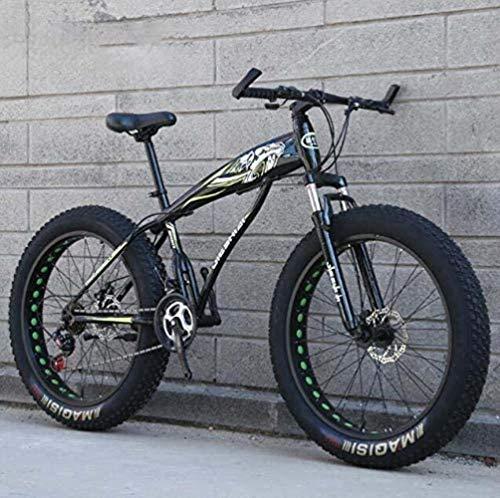 HongLianRiven BMX Fat Tire for Bicicleta for Hombres Mujeres, Rígidas MBT Bicicletas, de Alto Carbono Marco de Acero y con Amortiguador Delantero Tenedor, Doble Freno de Disco 5-25