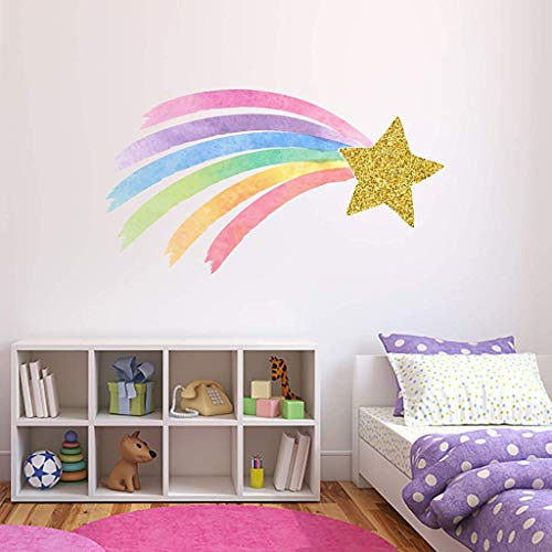 Shooting Star Rainbow Wall Decal Pastel Watercolor Unicorn Nursery Girls Bedroom Decor Gold Star & Rainbow Wall Decor ND03 (24'W x 14'H inches)
