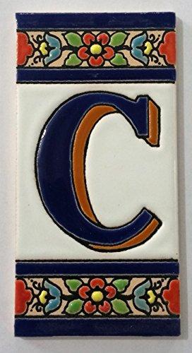 ARTESANÍA ROCA Letras y números de azulejo cerámico. Modelo Flor Azul. Medidas 11cm Altura x 5,5 cm Ancho Made IN Spain (C Letra)