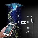 XSGDMN Sistema de Ducha LED, múltiples Funciones de música Ducha de Lluvia, 16 Pulgadas de la Ducha termostática límite máximo fijado con precipitaciones Cascada difusión de la Niebla, Control Remoto