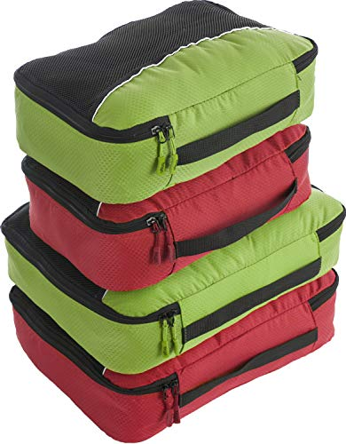 Bago 4 Set Packing Cubes for Travel - Luggage & Suitcase Organizer - Cube Set (Green, Red)
