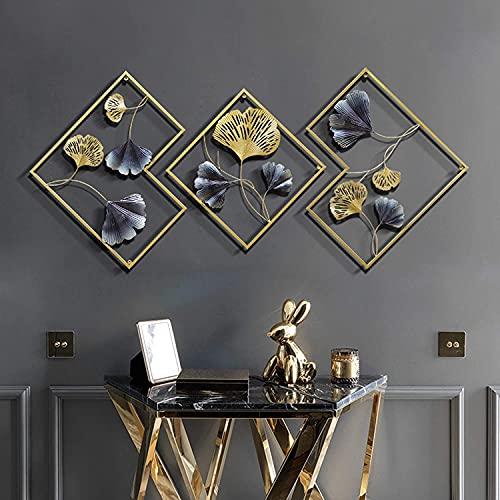 QWEAS Decoración de Pared de Metal, Juego de 3 esculturas para Colgar en la Pared de Golden Ginkgo Biloba para Sala de Estar, Dormitorio, baño, Cocina, Oficina