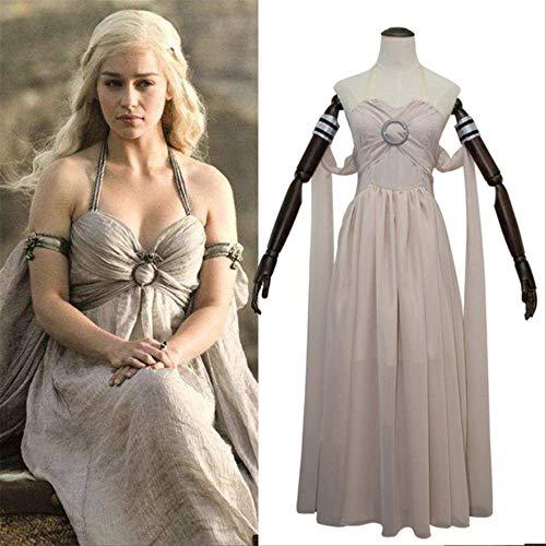 WSJDE - Disfraz de Daenerys Targaryen para cosplay de una cancin de hielo y fuego juego de tronos traje largo halter vestido de Halloween disfraces M Champagne