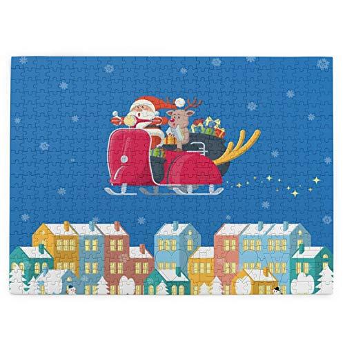 SYDIYIWL Rompecabezas de madera con diseño de Santa Riding Scooter sobre Winter Town de 520 piezas