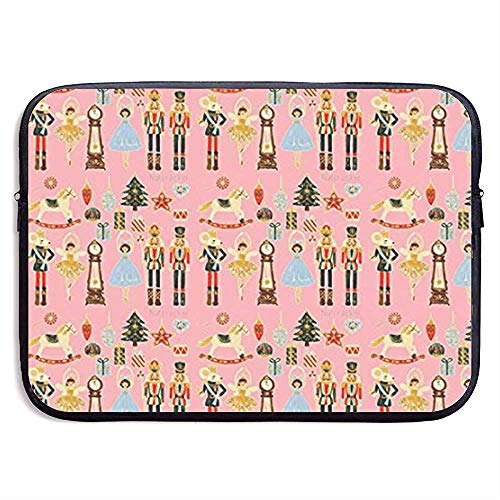 15 inch Notenkraker Kerstmis-Roze Xmas Waterafstotend Laptop Sleeve Case Hoes