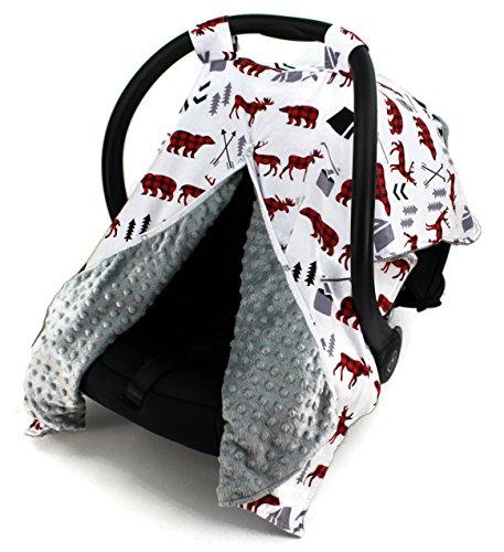 Dear Baby Gear Car Seat Canopy, Woodland Bear Moose Plaid, Minky Grey
