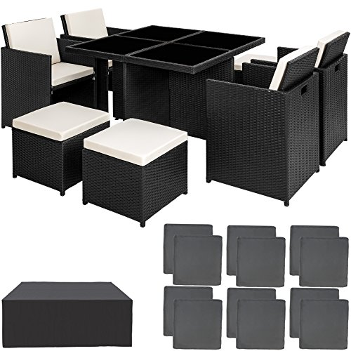 TecTake Poly Rattan Aluminium 4+1+4 Sitzgruppe Cube 4 Stühle 1 Tisch 4 Hocker + Schutzhülle & Edelstahlschrauben - Diverse Farben - (Schwarz | Nr. 401986)