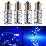 EverBright Blue 1156 BA15S Led Bulb,1141 1073 7506 Base LED Replacement Bulb For RV Camper SUV MPV Car Turn Signal Bulb Brake Light Bulb Backup Light Lamp 18SMD 5050Chips DC-12V, Pack of 4