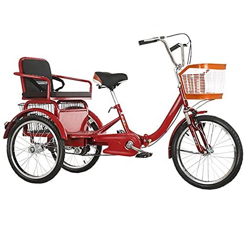 Triciclo Adulto De 20 Pulgadas, Bici De Bicicleta De Tres Ruedas De Crucero, Triciclo con Cesta De Carga, Canasta De Automóviles, Marco De Acero De Alto Carbono, Adecuado para Altura 150-180 Cm