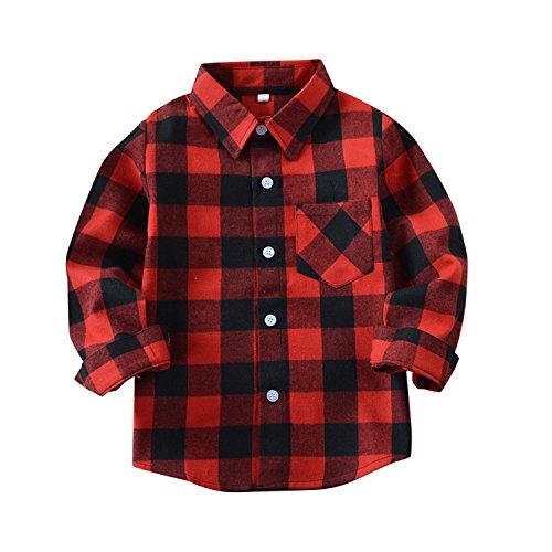De feuilles Chic-Chic Chemise Carreaux Manche Longue Bébé Fille Garçon Enfants Haut T-Shirt Chemisier Classics Chemise Sweat Shirt Rouge Noir 11-12ans