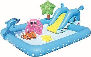Yester Piscina exterior Piscina Bebé hinchable para tribunal exterior, piscina, exterior con chorros hinchable de juguetes de agua de centro de juego para niños Splash Water Swimming Po