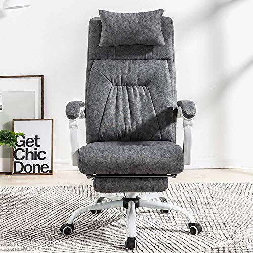 Bruin PU Lederen bureaustoel, Executive Computer Gaming Stoel met Hoge Achterhoofdsteun Voetsteun Verstelbaar voor Home Office
