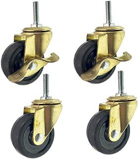 2'' Caster Wheels, M8 MeubelCasters Met Remmen, Rubber Swivel Castor Wheel Voor Trolley, Draag Resistant Set Van 4, 50mm