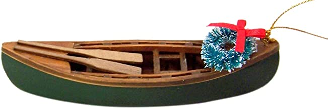 Wooden Painted Canoe Hanging Christmas Tree Ornament, 5 1/4 Inch