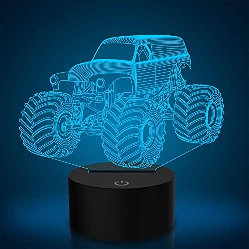 Linterna mágica 3D luz de noche LED, siete lámparas de mesa de camiones de movimiento de tierra intermitentes, lámparas de mesa para niños de dormitorio, regalos de cumpleaños