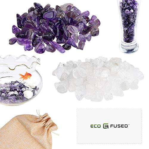 Eco-Fused Piedras de Cristal Pulidas Amatista y Cuarzo – Piedras Naturales con Formas Irregulares para Arte, Manualidades, Joyería, Decoración y Más – Decoración para Acuarios, Plantas y Velas