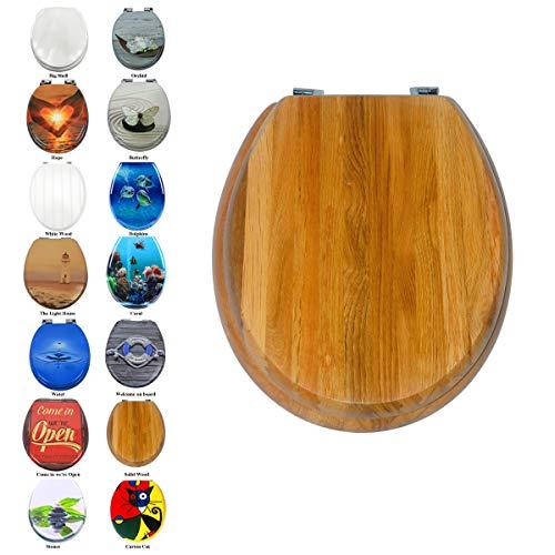 Toilettensitz WC-Sitz Luxus MDF Holz Slim Toilettensitz, leicht zu reinigen, Ersatz Scharnier, rund (Massivholz)