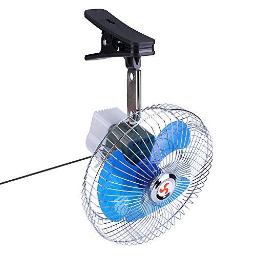 Tnfeeon 12V 25W Ventilador para automóvil eléctrico Clip Fans Mini Ventilador oscilante Potente...