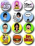 Bob's Burgers Buttons Pins 1.25' Set of 12 Collectible TV Memorabilia Tina Louise Bob Linda Gene Belcher
