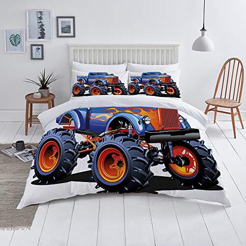 niet Dekbedovertrek Set-Bedding, Cartoon Monster Truck Enorme banden Off-road Zware Grote Tractor Wielen Turbo, Quilt Cover Bedlinen-Microvezel 140×200CM met 2 Kussensloop 50×80CM