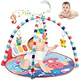 Baby Play Mat,Baby Game Blanket Music Pedal Piano Music Fitness Rack Crawling Mat with with 5 Hanging Sensory Toys,Baby Fitness Mat Play Mat Activity Gym for Girl and Boy (Multicolour A)