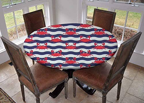 Ronde tafelkleed keuken decoratie, tafelblad met elastische randen, vrolijke Set van Cartoon Kleurrijke Krab Personages met Verschillende Expressies en Emoties Multi kleuren, Banket tafelkleed