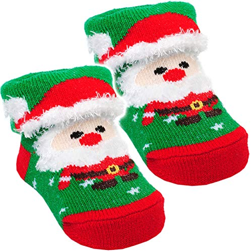 alles-meine.de GmbH 1 Paar _ 3-D Effekt _  Baby - Socken - Weihnachtsmann  - für Baby´s - 0 bis 1 Jahr - Baumwolle - Erstlingssöckchen - Weihnachten / Weihnachtsmotive - Winter..
