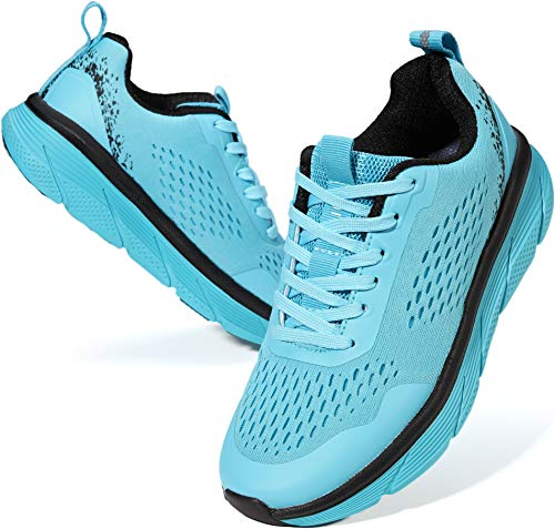 WHITIN Running Shoes for Women with Arch Support Size 8 Stylish Comfortable Cushioning Shock Absorbing Long Distance Flexible Light Low Top Lace Up Run Tenis Sneakers Blue