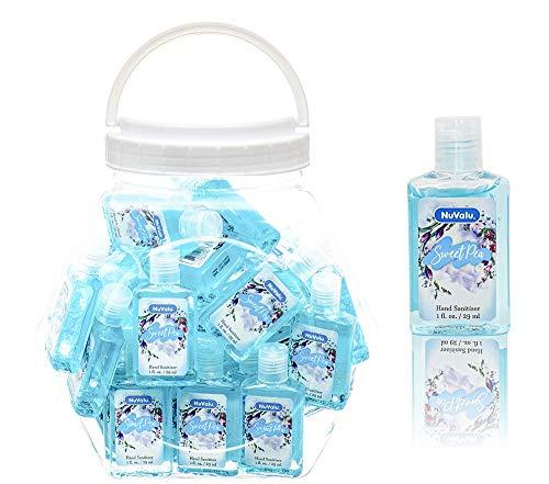 bulk hand sanitizer minis NuValu Sweet Pea Scented Anti-bacterial Hand Sanitizer (1fl. oz. bottles), 48 PACK (Baby Blue)