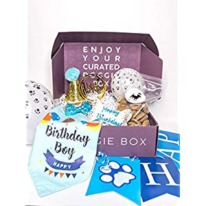 Boy Dog birthday decorations and supplies including hat, birthday banner, bow tie, bandana, cake topper, balloons, all natural, American-made peanut butter treats and frosted, dog birthday bone.