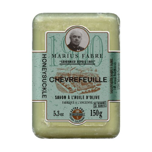 Marius Fabre Savon de Marseille Chèvrefeuille - GEISSBLATT-Seife mit Sheabutter - REIN PFLANZLICH - 150 g