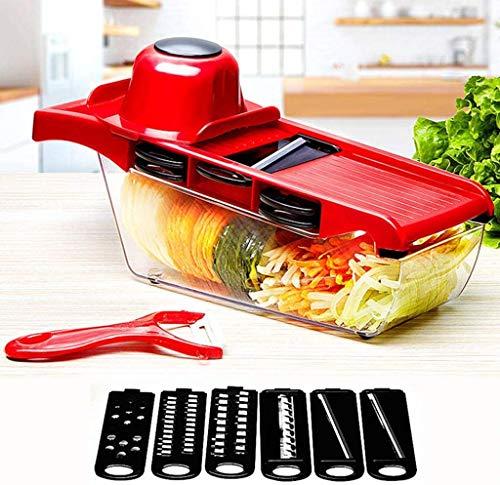 ZGYQGOO Food Chopper Gemüseschneider, manueller Gemüseschneider mit Stahlklinge Kartoffelschäler Karottenreibe Mandoline Gemüseschneider für Küchenzubehör