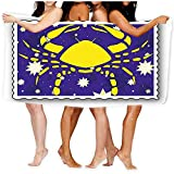 zhengshaolongG Toalla de baño Large Beach Towel,Soft Towel with Unique Design Stamp Zodiac Sports Watercolor Cancer