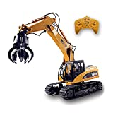 Fistone 1:14 16Ch RC Timber Grab Loader Truck Crawler Alloy Gripper Engineer Machine 2.4G Construction Vehicle Remote Control Tractor Excavator Hobby Toys for Kids