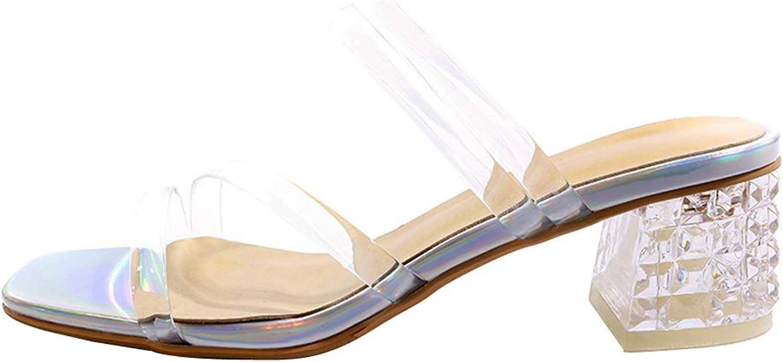 Themost Mule Sandals,Women's Clear Open Toe Slippers Chunky Heels Mules High Heel Slip on Slide Sandal