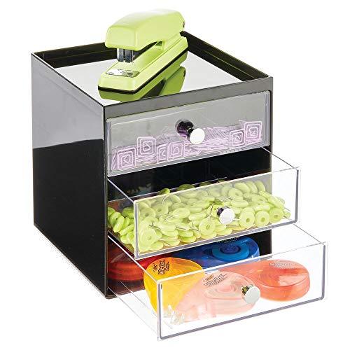 mDesign Organizador de escritorio con 3 cajones – Cajonera pequeña para bolígrafos, clips, notas, etc. – Compacto gavetero de plástico para mesa de oficina – negro y transparente