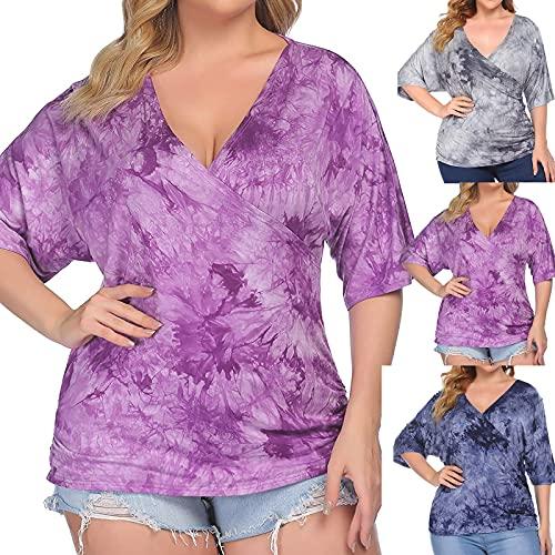 Dasongff Tunika Damen Tshirt Sommer Kurzarm V-Ausschnitt Longshirt Shirt Lockere Tie-Dye Blusen Plus Size Oberteile Blumendruck Blusenshirts Basic Shirt Top Tee Hemd Casual Bluse Sweatshirts